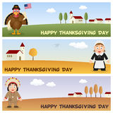 Thanksgiving Day Horizontal Banners [2]. A collection of three happy Thanksgiving Day horizontal banners with a turkey character, a Pilgrim woman and a Native or vector illustration