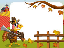 Thanksgiving day horizontal frame pilgrim angry turkey rifle. Thanksgiving day horizontal frame featuring pilgrim angry turkey holding rifle outdoor Stock Image