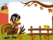 Thanksgiving day horizontal frame turkey playing american football Royalty Free Stock Image
