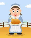 Thanksgiving Day - Housewife with Turkey Royalty Free Stock Image