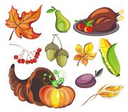 Thanksgiving day icon set Royalty Free Stock Images