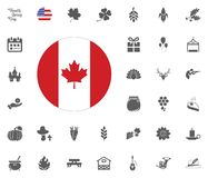 Thanksgiving Day Icon set. Design elements illlustration vector. Canada flag icon. Thanksgiving Day Icon set. Design elements illlustration vector Stock Photo