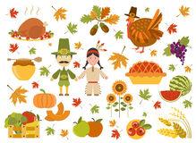 Thanksgiving day icon set. Flat style royalty free illustration