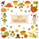 Thanksgiving day icon set. Flat style Royalty Free Stock Photos