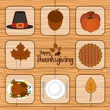 Thanksgiving day icon set Stock Images