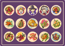 Thanksgiving Day icon set. Set of 15 round icons on Thanksgiving Day in style color sketch stock illustration