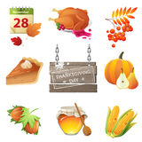 Thanksgiving day icons Royalty Free Stock Images