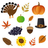 Thanksgiving day icons Stock Images