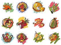 Thanksgiving Day Icons in Sketch Style Stock Photo