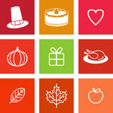 Thanksgiving Day Icons Royalty Free Stock Photos