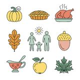 Thanksgiving day icons. Vector illustration Stock Images