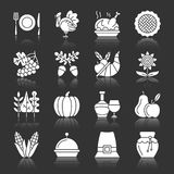 Thanksgiving day icons white silhouette reflection. Thanksgiving day white silhouette with reflection icon set. Monochrome flat design symbol collection. Pumpkin Royalty Free Stock Image
