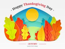 Thanksgiving day illustration. Autumn forest, trees in the form of autumn leaves, the sun is cut from paper with text Stock Image