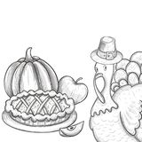 Thanksgiving day illustration. Traditional Thanksgiving day food, sketch illustration Vector Royalty Free Stock Photography