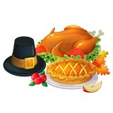Thanksgiving day illustration. Traditional Thanksgiving day food, cartoon illustration Vector Stock Photography