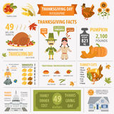 Thanksgiving day, interesting facts in infographic. Graphic temp Royalty Free Stock Photo