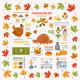 Thanksgiving day, interesting facts in infographic. Graphic temp. Late. Vector illustration Stock Images