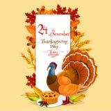 Thanksgiving Day invitation card template. Design elements with thanksgiving dinner symbols of turkey, pie, pumpkin, corn, autumn oak, maple leaves royalty free illustration