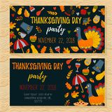 Thanksgiving day invitations with doodle icons Stock Photos