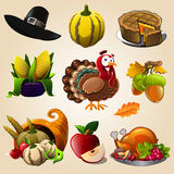 Thanksgiving day items. Set of colorful cartoon icons for thanksgiving day Stock Photography