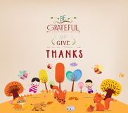 Thanksgiving Day. Kids funny with animals Stock Photography