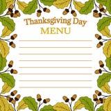 Thanksgiving day menu, sketch Royalty Free Stock Photo