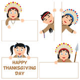 Thanksgiving Day Native and Banners Set royalty free illustration