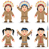 Thanksgiving Day Native Characters Set Stock Image