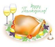Thanksgiving day Op de lijst is een heerlijk braadstuk Turkije met appelen, peper en kruiden Twee glazen van wijn en een kaars vector illustratie