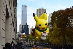 Pikachu at Thanksgiving Day Parade 2016 - New York City. Floats, costumes, and more of the Thanksgiving Day parade along Central Park in New York City Stock Photo