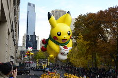 Pikachu at Thanksgiving Day Parade 2016 - New York City. Floats, costumes, and more of the Thanksgiving Day parade along Central Park in New York City Royalty Free Stock Photos