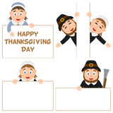 Thanksgiving Day Pilgrim and Banners Set Stock Photos