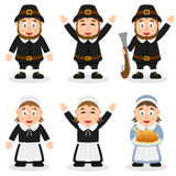Thanksgiving Day Pilgrim Characters Set Royalty Free Stock Image