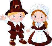 Thanksgiving Day Pilgrim Couple stock illustration