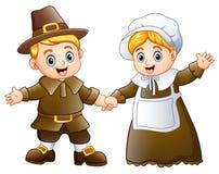 Thanksgiving day of pilgrim couple waving. Illustration of Thanksgiving day of pilgrim couple waving vector illustration