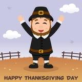 Thanksgiving Day Pilgrim Man Greeting Stock Photos