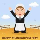Thanksgiving Day Pilgrim Woman Greeting Royalty Free Stock Image