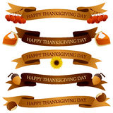 Thanksgiving Day Ribbons or Banners Set. Collection of Happy Thanksgiving Day party ribbons or banners in two different colors (yellow and brown) with autumnal Stock Images
