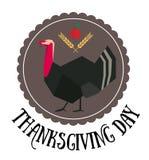 Thanksgiving day round logo. Thanksgiving day logo with turkey in circle Royalty Free Stock Photo