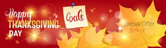 Thanksgiving Day Sale Autumn Traditional Holiday Shopping Discount Seasonal Price Off Banner. Flat Vector Illustration Stock Photo