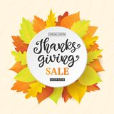 Thanksgiving Day Sale banner template with colorful fall leaves and ink lettering. Holiday Shopping Discount promotion. Poster, card, flyer, label trendy Stock Images