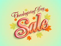 Thanksgiving Day sale poster with Maple leafs. Royalty Free Stock Image
