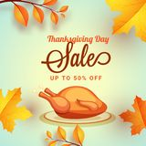 Thanksgiving day sale upto 50% discount offer template or poster. Design with illustration of chicken, maple or autumn leaves on shiny green background vector illustration