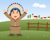Thanksgiving Day Scene - Cute Native Man Royalty Free Stock Photo