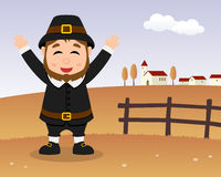 Thanksgiving Day Scene - Cute Pilgrim Man Stock Image
