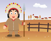 Thanksgiving Day Scene - Native Man Spear Stock Photos