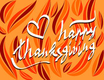 Thanksgiving day script hand lettering text Stock Image