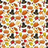 Thanksgiving day seamless background.Symbols of thanksgiving day and family traditions elements for holiday design on Royalty Free Stock Image