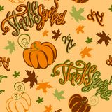 Thanksgiving day. Seamless pattern.Inspiring cheerful lettering pumpkin and autumn leaves . Cheerful festive print for stock illustration