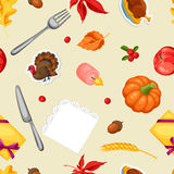 Thanksgiving Day seamless pattern. Ornament with autumn and holiday objects Royalty Free Stock Images